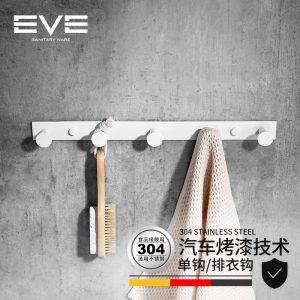 Yiweiyi કાળા અને સફેદ સ્ટેનલેસ સ્ટીલ પંક્તિ કોટ હૂક બાથરૂમ હાર્ડવેર પેન્ડન્ટ ટુવાલ કપડાં ટોપી કોટ હૂક દિવાલ અટકી