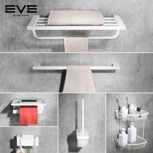 नॉर्डिक सफेद तौलिया रैक, स्टेनलेस स्टील बाथरूम शेल्फ, तौलिया रैक, बाथरूम और बाथरूम हार्डवेयर सामान सेट