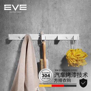 Yiweiyi 304 stainless steel double clothes hook white bathroom bathroom hardware pendant hanger