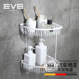 伊唯伊 304不锈钢五金挂件 双层三角篮置物篮浴室角篮角架卫生间
