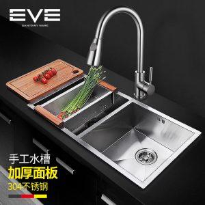 Yiweiyi 304 स्टेनलेस स्टील के रसोई मैनुअल सिंक गाढ़ा स्टेनलेस स्टील सिंक डबल सिंक dishwashing सिंक
