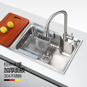 Yiweiyi 304 stainless steel sink single-slot kitchen sink thickened sink sink single-slot faucet package
